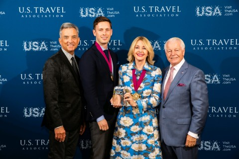 L-R Chris Thompson, President/CEO of Brand USA; Nick Hentschel, COO of ATI; Noel Irwin Hentschel, Chair/CEO of ATI; Roger Dow, President/CEO of USTA, at Chairman Circle Honors presentation to ATI. (Photo: Business Wire)