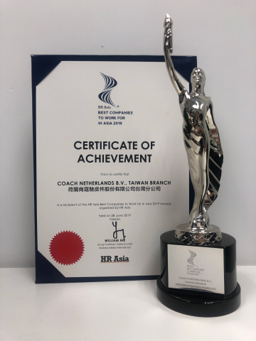 COACH台灣榮獲由亞洲資深人力資源專才的權威刊物HR Asia頒發的「2019年亞洲最佳企業僱主獎」