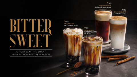 COFFEEBAY, a franchise café brand of Appletree Co., Ltd. in Korea, is set to take the lead in the café industry by launching a lineup of BITTERSWEET beverage products. The lineup includes BROWNSUGAR MILK TEA, a sweet milk tea that's finished off with copious amounts of brown sugar; BROWN SUGAR RISTRETTO LATTE, which combines strong ristretto with brown sugar to feature truly bittersweet taste; CINNAMONSUGAR SPARKLING LONG BLACK, a long black espresso contains astringent tastes of lemon sparkling water; and CINNAMONSUGAR SPANISH LATTE, which created buzz not just in Korea but in the Philippines, featuring smooth taste flavored from harmony of Spanish condensed milk cream and pungent cinnamon sugar. In the Philippines, the BITTERSWEET products are drawing much attention from local people, spreading quickly all over the country with massive social media postings. (Graphic: Business Wire)