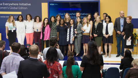 Finalists and judges from the FinTech and Social Impact Challenges celebrate with executives from Visa and event partners. (Photo: Business Wire)