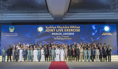 HH Sheikh Saif bin Zayed Al Nahyan in a group photo with ISALEX19 participants (Photo: AETOSWire)