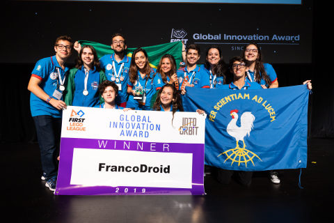 FIRST LEGO League team FrancoDroid from Rio de Janeiro, Brazil, received the Global Innovation Award for their innovative solution for long-duration space travel that helps make space travel more accessible for women. (Photo: Business Wire)