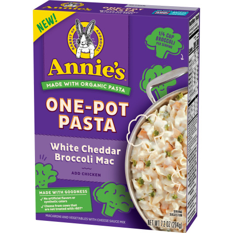 Annie's One Pot Pasta combine organic pasta with hidden veggies to make an easy, convenient, and delicious meal kids will love. Available in three kid favorite flavors – White Cheddar Broccoli Mac, Pizza Mac with Hidden Vegetables, Cheesy Mac and Hidden Veggies. Each box carries Annie's Made with Goodness Guarantee. No artificial flavors or synthetic colors. Cheese from cows not treated with rBST. (Photo: General Mills)