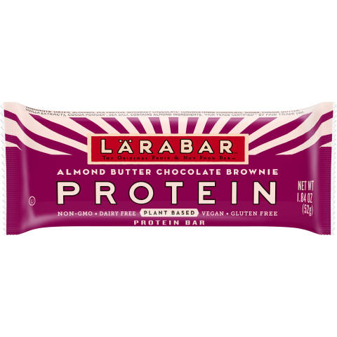 LÄRABAR Protein bars are packed with 11 grams of plant-based protein from peas and nuts. Available in Lemon Blueberry Muffin, Chocolate Peanut Butter Cup, Apple Cobbler, and Almond Butter Chocolate Brownie. Each flavor is gluten-free, vegan, dairy-free, non-GMO and made with just eight or fewer plant-based ingredients. (Photo: General Mills)