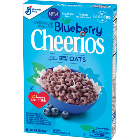 Blueberry Cheerios are inspired by the fresh taste of blueberry. Made with whole grain oats, real blueberry puree and other natural flavors. Gluten free. No artificial flavors or colors from artificial sources. (Photo: General Mills)
