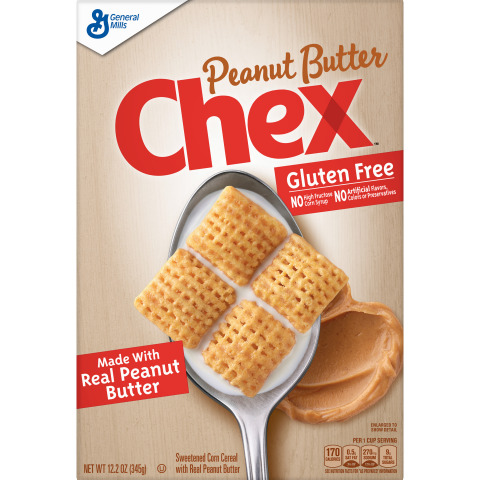With real creamy, delicious peanut butter in every bite, Peanut Butter Chex™ is gluten free and made with no artificial flavors, colors from artificial sources or preservatives. (Photo: General Mills)