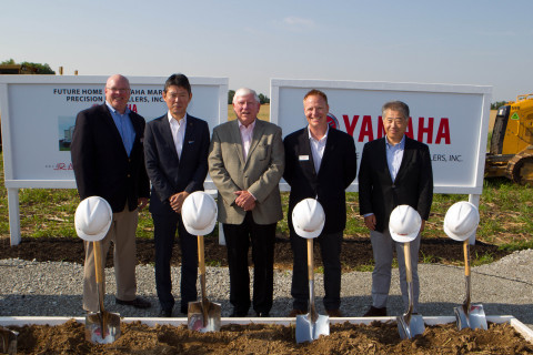 Yamaha Marine Precision Propellers, Inc.(YPPI) breaks ground on new 54,000 square-foot facility in Greenfield, Ind. Left to right: Bill Boehman, Chief Marine Operations and Manufacturing Officer, Yamaha U.S. Marine Business Unit; Kazuhiro Kuwata, President, Yamaha Motor Corp. U.S.A.; Chuck Fewell, Mayor, City of Greenfield, Ind.; Jonathon Burns, General Manager, YPPI; Toshihiro Nozue, Executive Officer and Senior General Manager of Marine Engine Operations, Yamaha Motor Corp. (Photo: Business Wire)