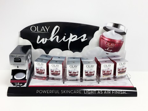 WestRock's Olay Whips PDQ for Procter & Gamble won a gold award in the Hair Care and Skin Care – Semi-Permanent Display category at the 2019 Outstanding Merchandising Achievement (OMA) Awards. (Photo: Business Wire)