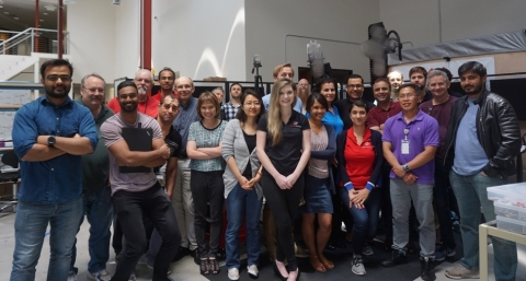Metawave and UO Advanced Radar Research Center team pictured with First Advanced Beamsteering Calibration System (Photo: Business Wire)