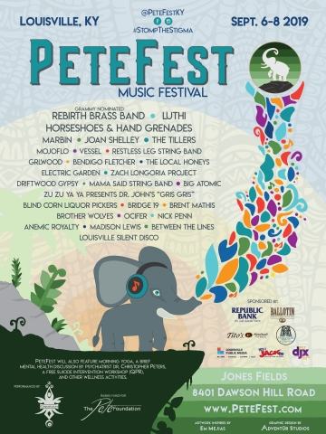 PeteFest Third Annual Music Festival Returns to Louisville in September. The PeteFest Music Festival will be held on September 6th-8th, 2019 in Louisville, Kentucky at the Jones Fields Nature Preserve in the Parklands area with an all new remarkable lineup of regional and nationally-touring artists, as well as camping, food trucks, booths, and activities. Information at PeteFest.com. (Graphic: Business Wire)