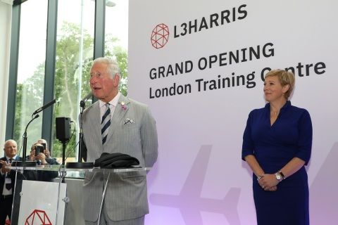 His Royal Highness The Prince of Wales speaks at the L3Harris London Training Center grand opening with Parliamentary Under Secretary of State for Transport, Baroness Vere of Norbiton. (Photo: Business Wire)