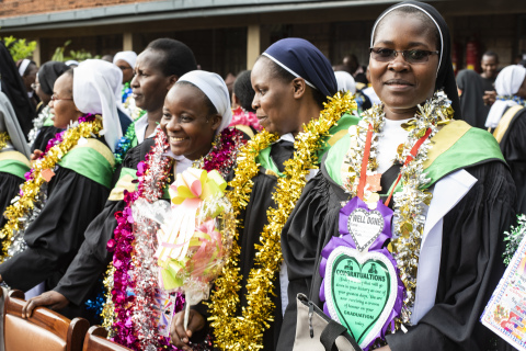 Women religious celebrating at the Sisters Leadership Development Institute graduation ceremony in Nairobi, Kenya, in December 2018. (Photo: Business Wire)