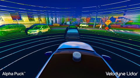 Point Cloud generated by the Velodyne Alpha Puck™, which can simultaneously locate the position of people and objects around a vehicle and assess the speed and route at which they are moving. (Photo: Business Wire)