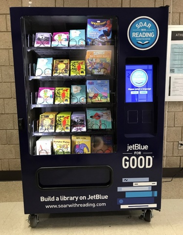 JetBlue's Soar with Reading Initiative lands in New York City, placing free book vending machines in each of the five boroughs in areas of need. (Photo: Business Wire)