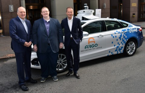 Ford President and CEO Jim Hackett, Argo AI CEO Bryan Salesky and Volkswagen CEO Dr. Herbert Diess announced Volkswagen is joining Ford in investing in Argo AI, the autonomous vehicle technology platform company.  (Photo: Business Wire)