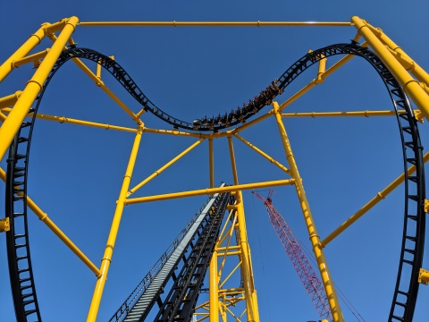 The Steel Curtain roller coaster, which opens tomorrow in the new STEELERS® Country section of Pittsburgh's KENNYWOOD® Park, features PPG coatings that include one in Steelers Yellow, a custom-color formulated by PPG specifically for the project. (Photo: Business Wire)