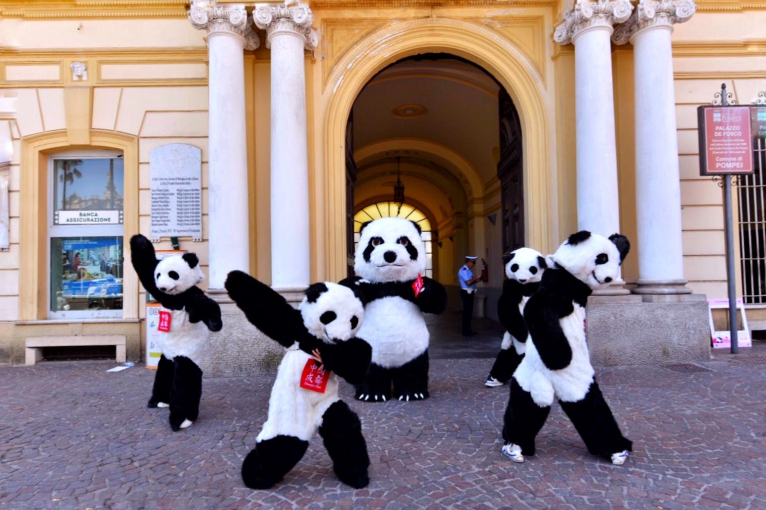 Panda Flash Mob Debuts at the Royal Palace of Naples to