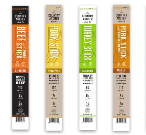 Country Archer Jerky Co. Launches Four New Meat Stick Flavors: Chorizo Beef & Pork, Maple Pork, Pineapple Pork and Hatch Chile Turkey. (Photo: Business Wire)