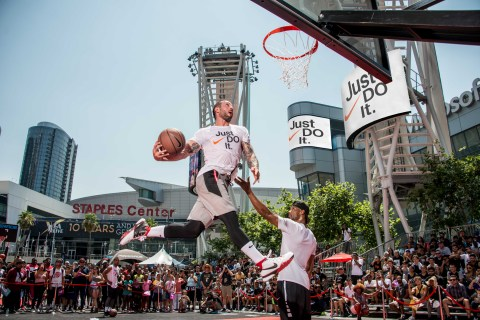 Nike Basketball 3ON3 Tournament, California's largest street basketball tournament, now in its 11th year will feature the highly anticipated Nike Slam Dunk Contest in Xbox Plaza at L.A. LIVE in addition to tournament play throughout the weekend. (Photo: Business Wire)