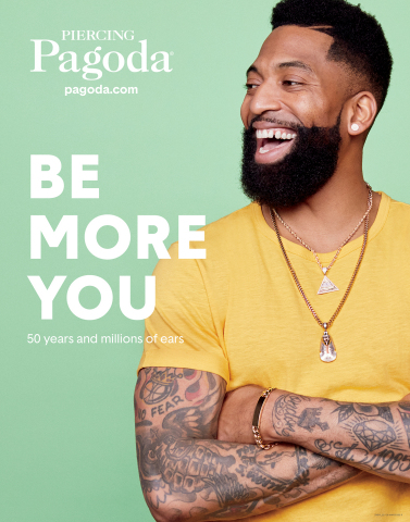 """In the Piercing Pagoda """"Be More You"""" campaign, customers are encouraged to share examples of their piercings and individual style with #BeMoreYou. The men's jewelry featured are cubic zirconia stud earring in 10K gold, a cubic zirconia pyramid charm in 10K gold with a 14K gold rope chain; a diamond accent beaded pharaoh charm in sterling silver with 14K gold plate with a stainless steel wheat chain and a 10K gold chain ID bracelet. Prices range from $74.99 - $1,399.99. (Photo: Business Wire)"""