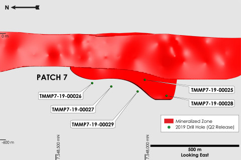 Figure 7: Madrid North deposit longitudinal section showing 2019 Patch 7 zone diamond drilling. (Graphic: Business Wire)