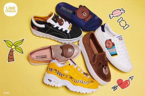 Skechers launches a collaboration with global character brand LINE FRIENDS with seven of their characters, including BROWN. (Graphic: Business Wire)