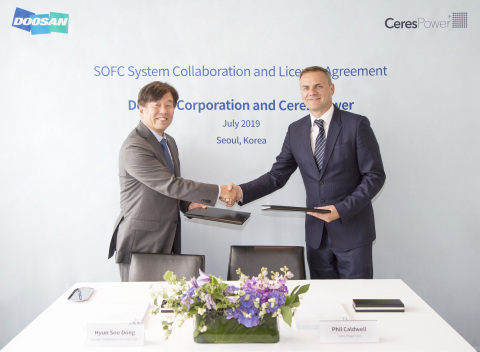 Ceres Power and Doosan sign new agreement (Photo: Business Wire)