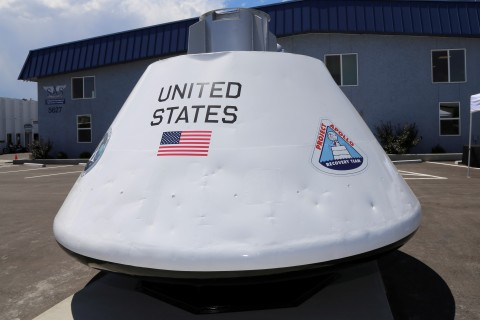 Apollo 16 test capsule is now on public display at SAS Flight Factory in Arvada, CO. (Photo: Business Wire)