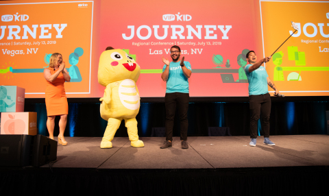 VIPKid's Head of Global Teacher Community Kevyn Klein, Community Production Manager Kevin Gainey and Community Engagement Lead Erik Chong join Dino for the commencement of Journey. Photo Credit: VIPKid/Grant Miller Photography
