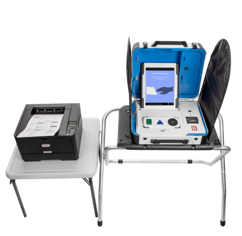 "The ADA-compliant Verity Touch Writer is a paper ballot marking device that provides true equality of access. The touchscreen interface is used to produce identical full-sized paper ballots for all voters – no segregated ballots – and includes adjustable audio and contrast settings and compatibility with ""sip-and-puff"" and other adaptive controls. (Photo: Business Wire)"
