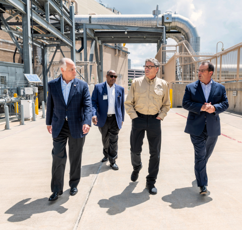 Secretary of Energy Rick Perry, second from right, toured Thermal Energy Corporation's district energy plant in Houston July 18, 2019, with, left to right, TECO Board Chairman Bradley Howell, University of Texas Regent Jodie Lee Jiles, and TECO President and CEO Steve Swinson. (Photo: Hall Puckett.)