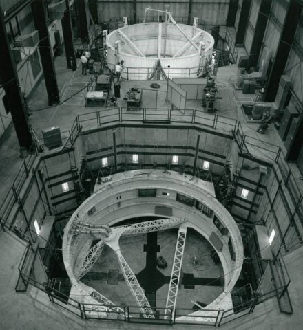 The high-force vibration Test Facility at NTS depicts two sub-structures of the Saturn V rocket, each mounted on a 400,000 force-pound shaker system. (Photo: Business Wire)