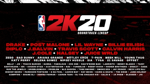 2K today announced that NBA® 2K20, the next iteration of the top-rated and top-selling NBA video game simulation series of the past 18 years, is launching their most expansive soundtrack to date with 50 tracks from artists such as Drake, Meek Mill, Billie Eilish, Post Malone and the late Nipsey Hussle. (Graphic: Business Wire)
