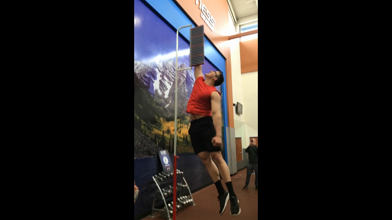 Vertical Jump test for The Next Olympic Hopeful tryouts held recently in 24 Hour Fitness clubs nationwide