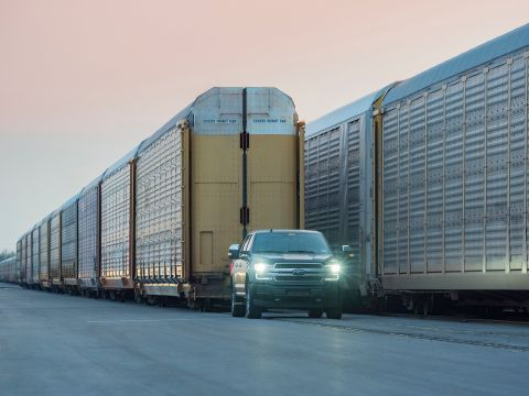 An all-electric Ford F-150 prototype during a capability test. The battery-powered truck successfully towed more than 1.25 million pounds of rail cars and trucks during the test. (Photo: Business Wire)