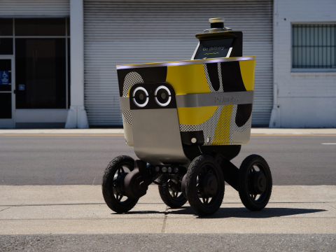 Postmates Serve equipped with the Ouster OS1 lidar sensor. (Photo: Business Wire)