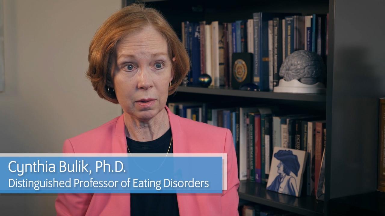 UNC School of Medicine's Dr. Cynthia Bulik discusses anorexia nervosa genetics study. (Video: UNC School of Medicine)