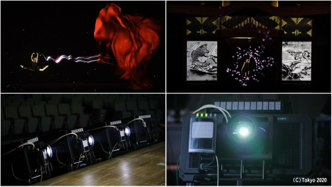"""Scene created with Panasonic's real-time tracking and projection mapping compatible projector during opening performance of Tokyo 2020's """"One Year to Go"""" Ceremony (Graphic: Business Wire)"""