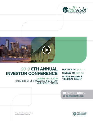 There's something for everyone. Join us at Intellisight 2019 - a 2-day education + investor conference featuring issues (ESG Impact Investing, The Digital Future, Municipal Bonds), plus issuers (c-suite execs from 40+ companies). Aug 13-14 in Minneapolis. (Graphic: Business Wire)