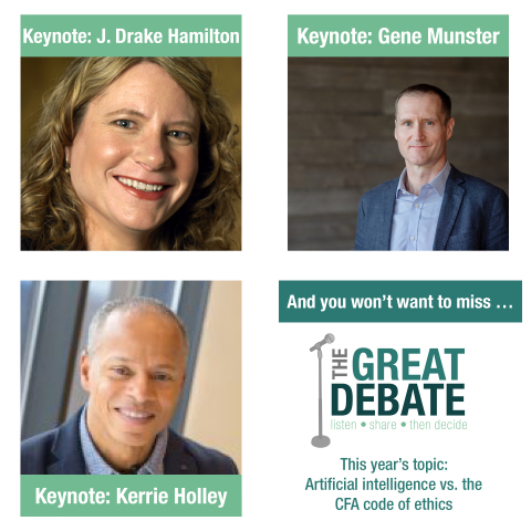 The 8th annual conference features keynote speakers, and back by popular demand ... The Great Debate. (Graphic: CFA Society Minnesota)