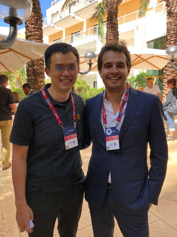 Changpeng Zhao, CEO of Binance, with Antoni Trenchev, Managing Partner at Nexo, in Malta. (Photo: Business Wire)