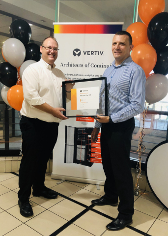 Dirk Cilliers, Partner Manager, South East Africa, Vertiv (left) and Pieter Geere, Product Manager, Rectron at the launch of the partnership. (Photo: Business Wire)