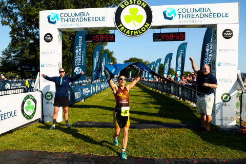 Ginger Howell of Arlington, Massachusetts was the fastest female finisher at the 2019 Columbia Threadneedle Investments Boston Triathlon. Photo Courtesy of Columbia Threadneedle Investments Boston Triathlon