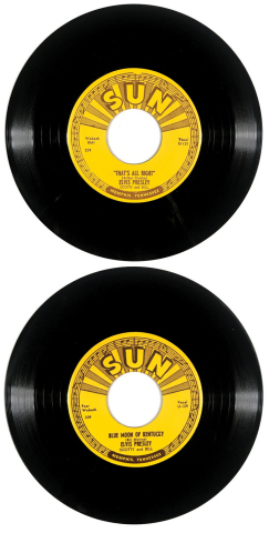 "Lot 1. Immaculate 1954 Sun Records 209 Unplayed 45 RPM 7-Inch Single of Elvis Presley's ""That's All Right"" and ""Blue Moon of Kentucky"" - Memphis Pressing $8-10,000 (Photo: Business Wire)"