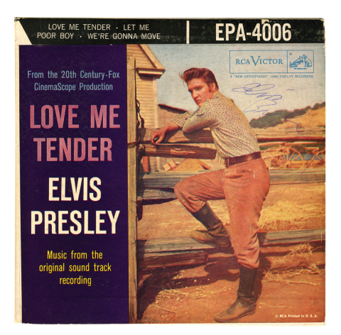 "Lot 100. 1956 Elvis Presley Signed ""Love Me Tender"" EP – Likely Signed While Playing Football in a Memphis Park $3-5,000 (Photo: Business Wire)"