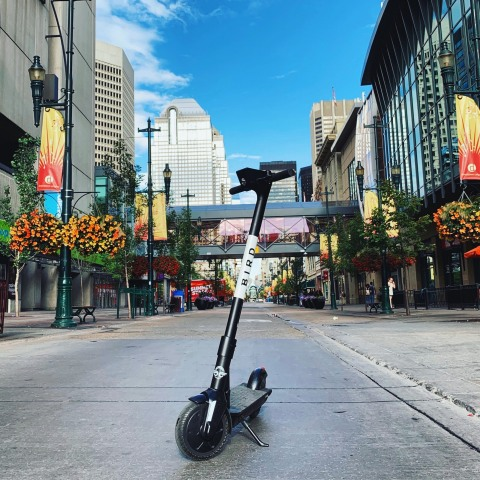 Calgary is the first Canadian city to provide access to the inexpensive to rent, easy to use, and fun to ride Bird e-scooters (Photo: Business Wire)