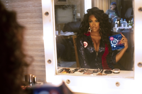 Porsha Williams gets glammed up for the Fiber One music video shoot (Photo: Business Wire).