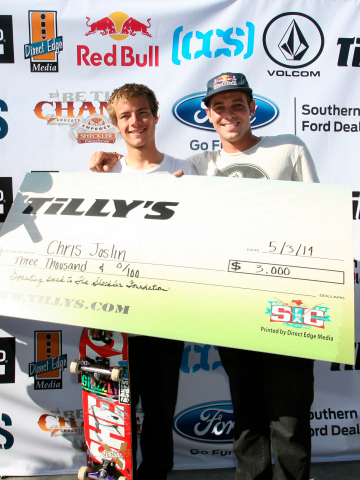 Supporter of the Sheckler Foundation for several years, Chris is pictured above with Ryan at the 2014 Skate for a Cause event (Photo: Business Wire)