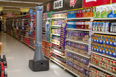 Badger Technologies, a product division of Jabil, is working with AT&T to test 5G wireless connectivity with its autonomous retail robots (shown here in a grocery environment) (Photo: Business Wire)