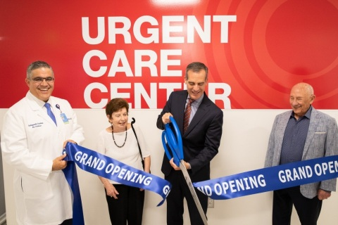 Los Angeles Mayor Eric Garcetti cuts the ribbon to the OIC Urgent Care Center Grand Opening with OIC Medical Director Dr. Mauricio Silva and Renee and Meyer Luskin. (Photo: Business Wire)